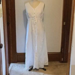 The Limited white linen maxi dress